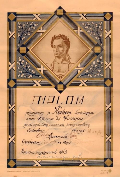 Dyplom dla Tadeusza Kurka - XX lat Huraganu, 1943