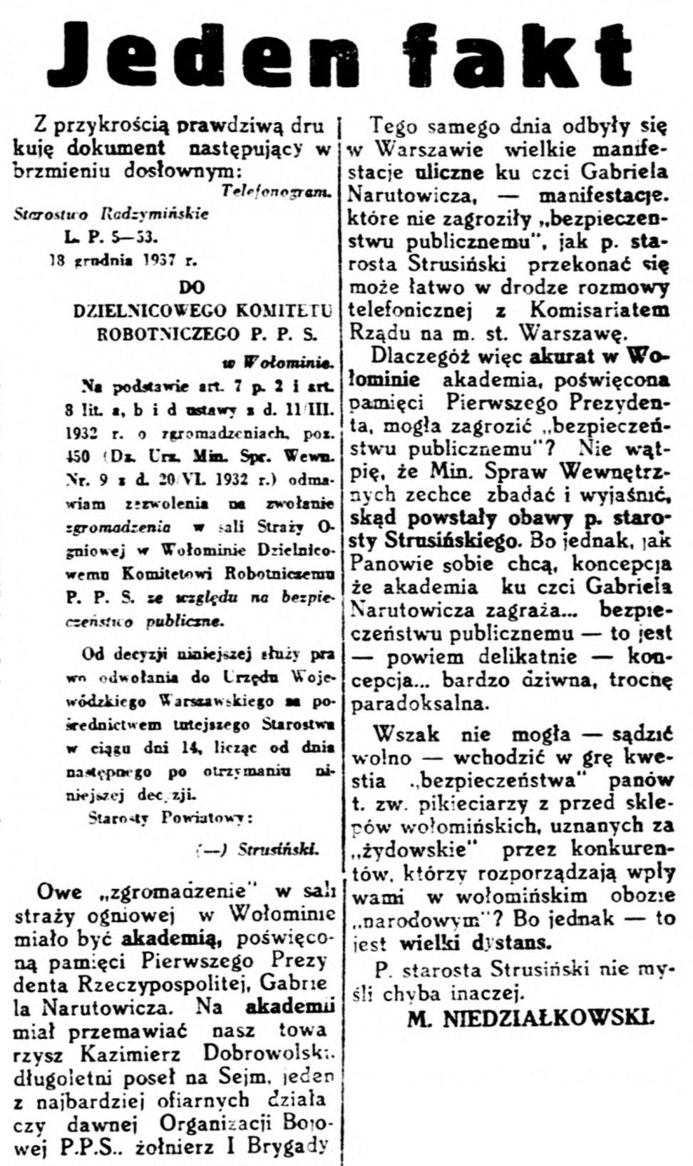 Robotnik - organ Polskiej Partyi Socyalistycznej. R.43, nr 380 (23 grudnia 1937)