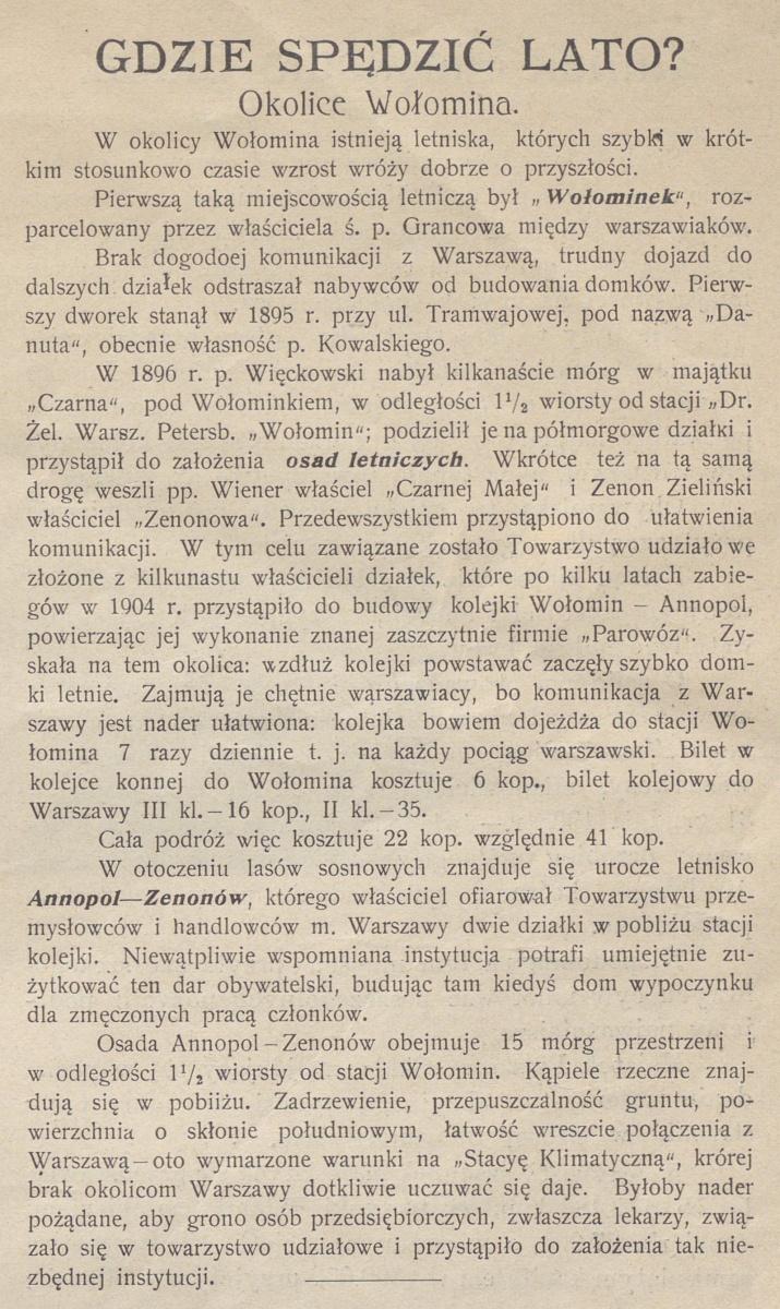 Letnisko - [ilustrowany kuryer podmiejski, przewodnik praktyczny] R. 1, nr 1 (21 marca 1909)