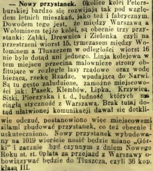 Otwarcie przystanku Górki - Słowo 1909 nr 6