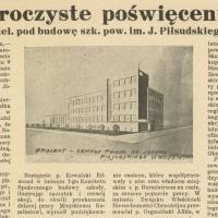 Uroczyste poświęcenie kamienia węgielnego pod budowę szk. pow. im. J. Piłsudskiego w Wołominie