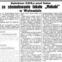 """Bojówkarze O.N.R.u przed sądem za zdemolowanie lokalu """"Makabi"""" w Wołominie"""