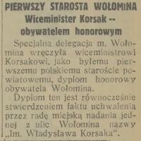 Wiceminister Korsak – obywatelem honorowym