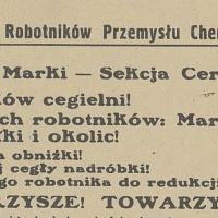 Odezwa Związku Zawodowego Robotników Przemysłu Chemicznego w Polsce