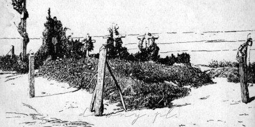 """Cmentarz poległych pod Ossowem. Pocztówka z cyklu """"Obrona Warszawy"""", rok 1920"""